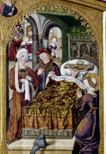 Postkarte: Legende vom Gekreuzigten im Bett